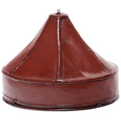 Chinese Red Lacquer Paneled Hat Box, circa 1850