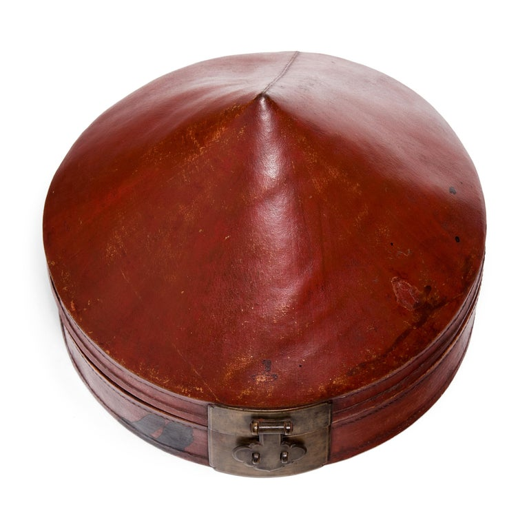 Chinese Red Lacquer Summer Hat Box, circa 1850 In Good Condition For Sale In Chicago, IL