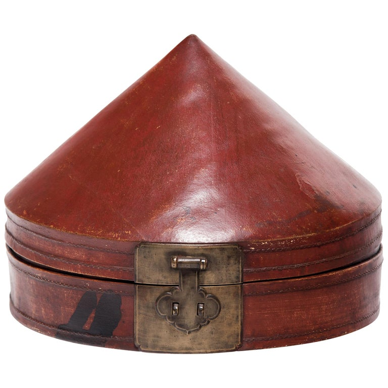 Chinese Red Lacquer Summer Hat Box, circa 1850 For Sale