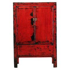 Chinese Red-Lacquered Cabinet with Two Doors and Restoration