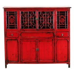 Chinese Red-Lacquered Cabinet with Two Drawers and Restoration