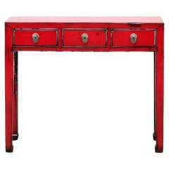 Chinese Red-Lacquered Console Table with Three Drawers and Restoration