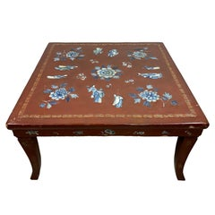 Chinese Red Lacquered Kang Table with Blue and White Porcelain Inlays