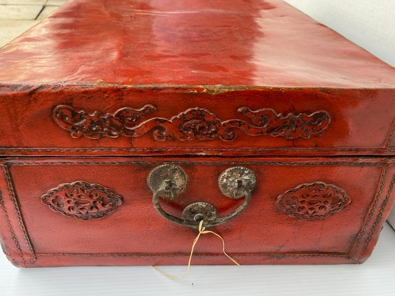 Chinese Red Lacquered Leather Trunk For Sale 4