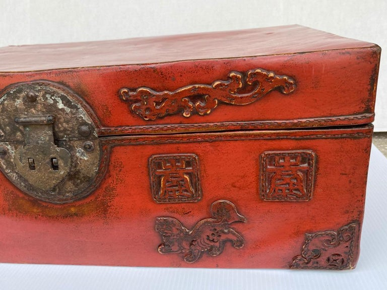 Chinese Export Chinese Red Lacquered Leather Trunk For Sale