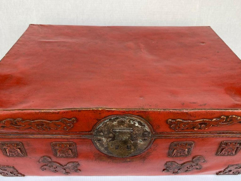 Hand-Crafted Chinese Red Lacquered Leather Trunk For Sale