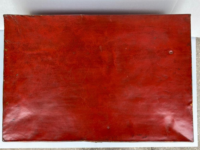 Chinese Red Lacquered Leather Trunk In Good Condition For Sale In Sarasota, FL
