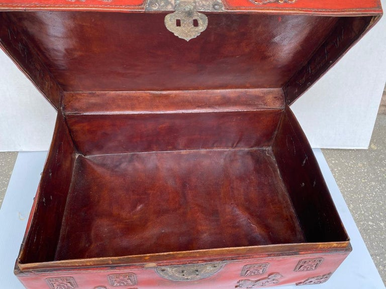Mid-19th Century Chinese Red Lacquered Leather Trunk For Sale