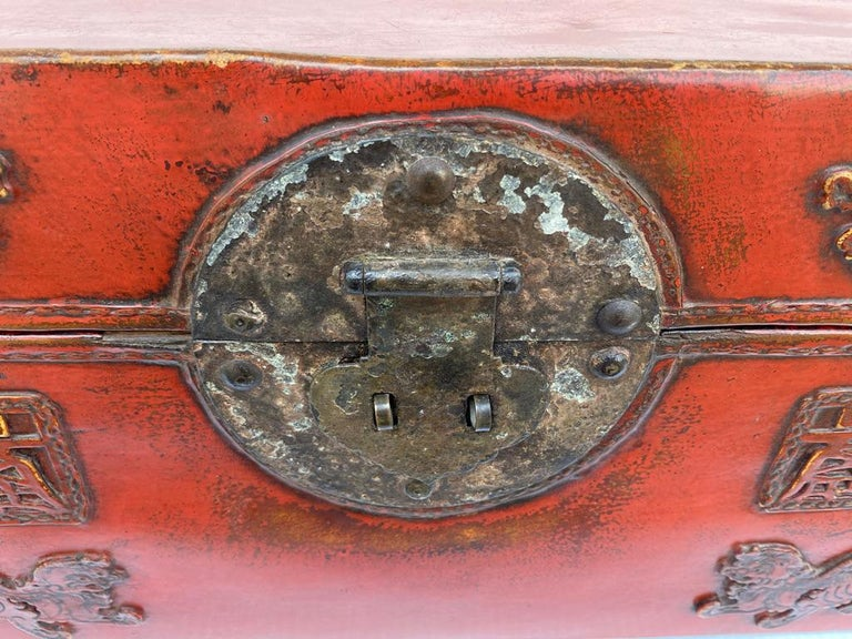 Chinese Red Lacquered Leather Trunk For Sale 1