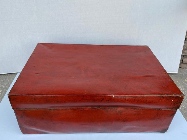 Chinese Red Lacquered Leather Trunk For Sale 2