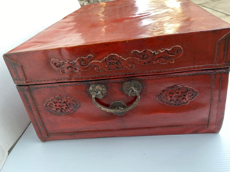 Chinese Red Lacquered Leather Trunk For Sale 3