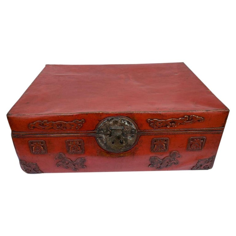 Chinese Red Lacquered Leather Trunk For Sale