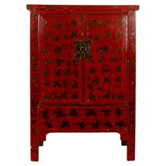 Chinese Red Lacquered Qing Dynasty 19th Century Cabinet with Chinoiserie Décor