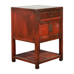 Chinese Red Lacquered Qing Dynasty 19th Century Cabinet with Drawer and Doors