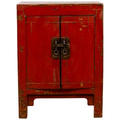Chinese Red Lacquered Qing Dynasty Style Bedside Cabinet with Distressed Finish