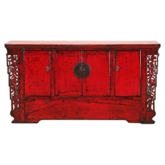 Chinese Red-Lacquered Sideboard with Four Doors and Restoration