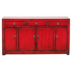 Chinese Red-Lacquered Sideboard with Three Drawers and Restoration
