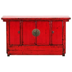 Chinese Red-Lacquered Sideboard with Three Drawers and Restortation