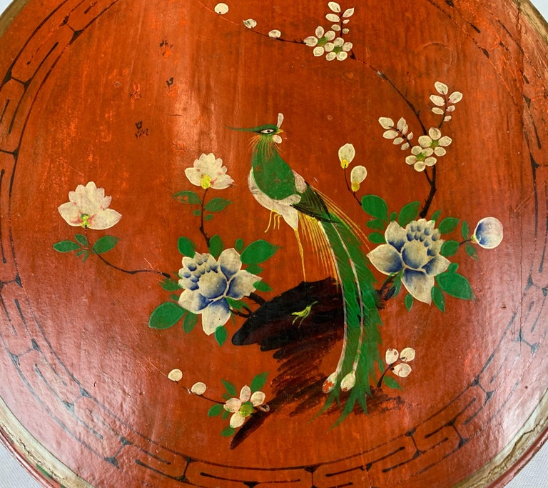 Hand Decorated Chinese Wedding Box in Red Lacquer For Sale 3