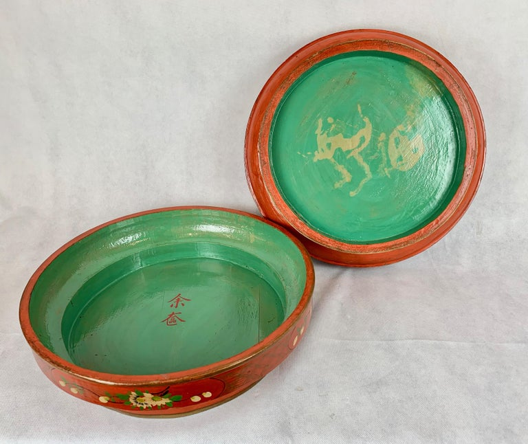 Late 19th Century  Hand Decorated Chinese Wedding Box in Red Lacquer For Sale