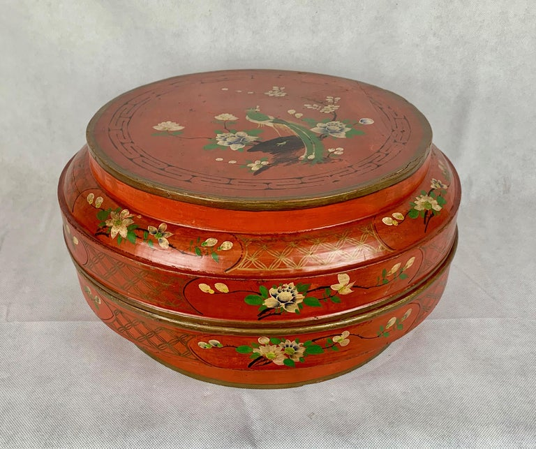 Enamel  Hand Decorated Chinese Wedding Box in Red Lacquer For Sale
