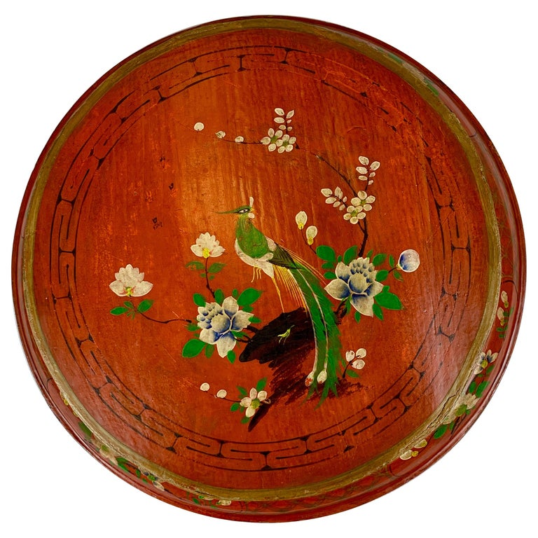 Hand Decorated Chinese Wedding Box in Red Lacquer For Sale