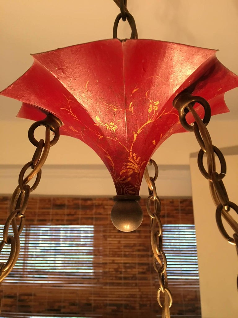 Chinese Red Pagoda Style Hanging Light Fixture by John Rosselli ...