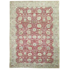 Chinese Red Room Size Traditional Antique Persian Tabriz Rug