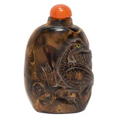 Chinese Regal Pheasant Wooden Snuff Bottle