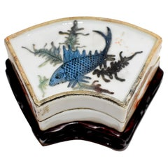 Chinese Republic Porcelain Box Blue Koi Hand Painted