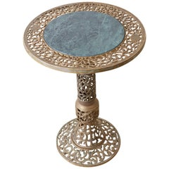 Chinese Reticulated Brass and Marble Top Drink Table
