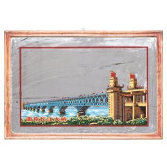Chinese Reverse Glass Painted Mirror of the Yangtze River Bridge