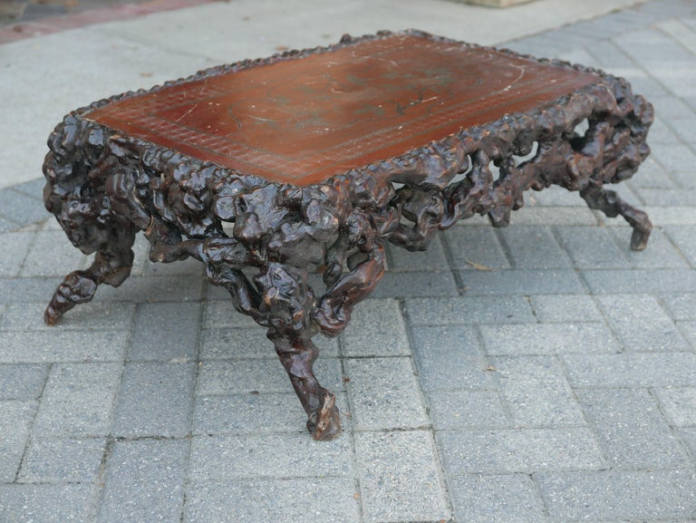 Other Chinese Rootwood Low Table with Lacquer Top For Sale