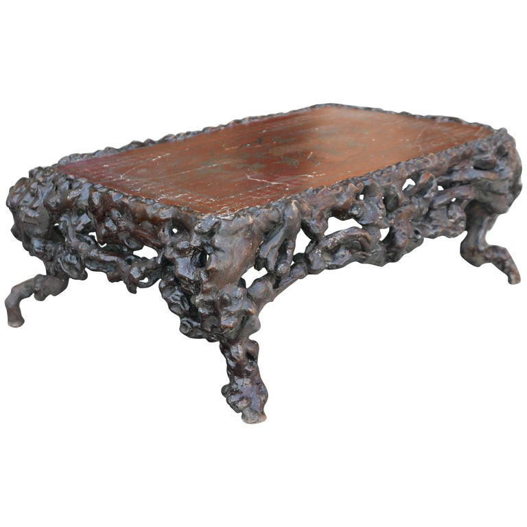 Chinese Rootwood Low Table with Lacquer Top For Sale