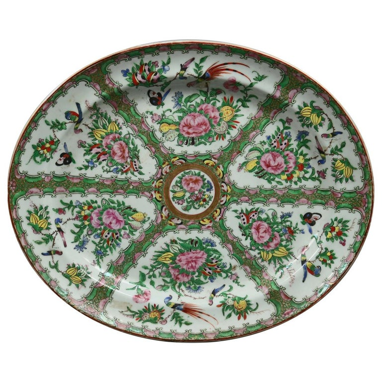 Chinese Rose Medallion Enamel and Gilt Decorated Porcelain Platter, circa 1890 For Sale