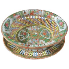 Chinese Rose Medallion Reticulated Porcelain Chestnut Basket with Underplate