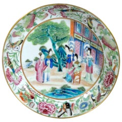 Chinese Rose Porcelain Mandarin Saucer Dish, Early 19th Centuy