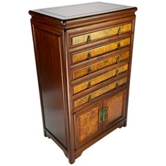 Chinese Rosewood and Burl Flatware Chest, Mid-20th Century