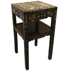 Chinese Rosewood and Mother of Pearl Stand with Dream Stone Top