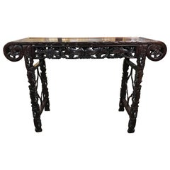 Chinese Rosewood Carved Altar Table with Reticulated Grape and Leaf Decoration