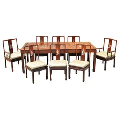 Chinese Rosewood Cherry Asian Dining Room Set Table 8 Chairs, 9pc Set