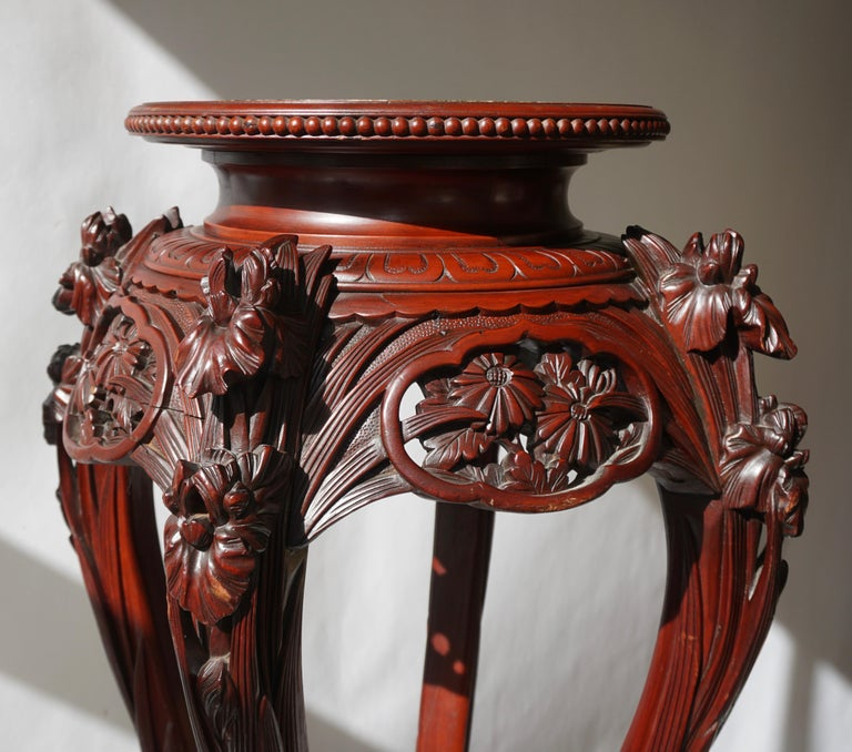 Chinese Rosewood Country House Pedestal For Sale 8