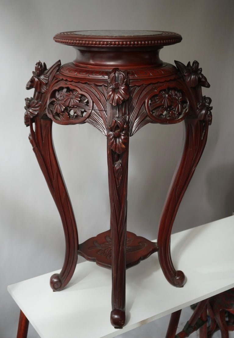 19th Century Chinese Rosewood Country House Pedestal For Sale