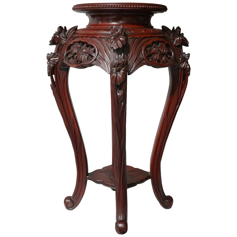 Chinese Rosewood Country House Pedestal For Sale