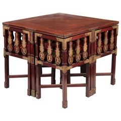 Chinese Rosewood Dining Table & Four Chairs All with Brass Engraved Plaques