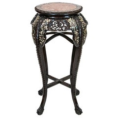 Chinese Rosewood Inlaid Plant Stand