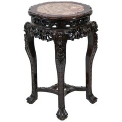 Chinese Rosewood Marble-Top Plant Stand