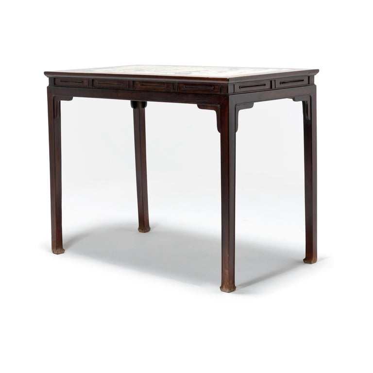 20th Century Chinese Rosewood Table with Marble Top For Sale