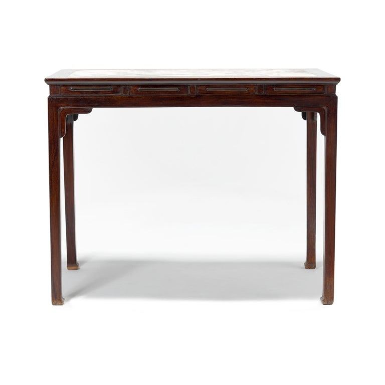 Chinese Rosewood Table with Marble Top For Sale 1