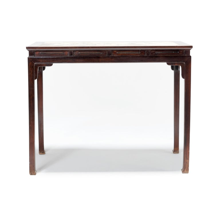 Chinese Rosewood Table with Marble Top For Sale 2